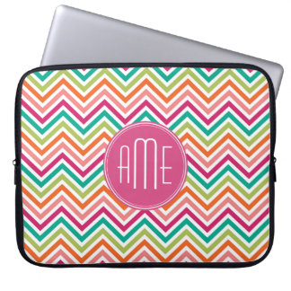 Colorful Bright Chevrons with Custom Monogram Computer Sleeve