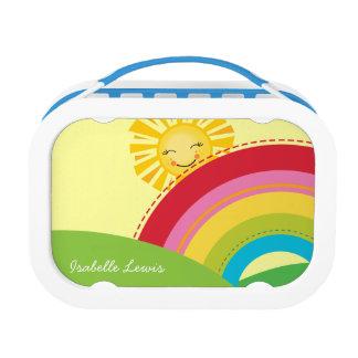 COLORFUL bright cute rainbow scene with sun Lunch Box