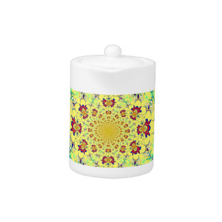 Colorful Bright floral damask design Teapot