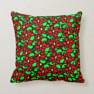 Colorful Bright Flowery Patterned Throw Pillow