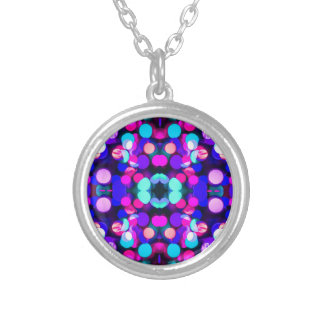 Colorful Bright Multicolor Bokeh Christmas Lights Personalized Necklace