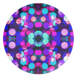 Colorful Bright Multicolor Bokeh Christmas Lights Dinner Plates