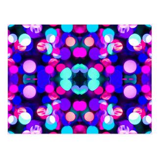 Colorful Bright Multicolor Bokeh Christmas Lights Postcard
