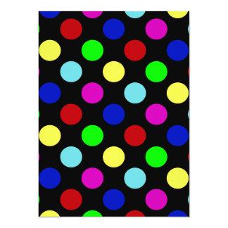 Colorful Bright Polka Dots on Black Card