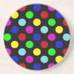 Colorful Bright Polka Dots on Black Coaster