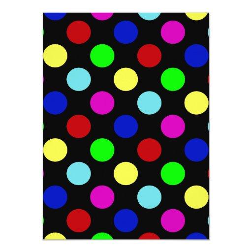 Colorful Bright Polka Dots on Black Custom Invitation