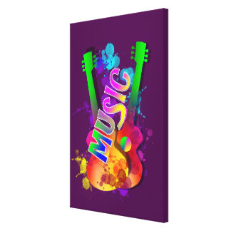 Colorful Bright Popping Guitar Music Paint Splats Canvas Print