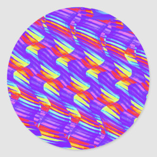 Colorful Bright Purple Wave Twists Artwork Classic Round Sticker