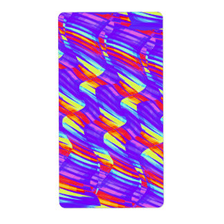 Colorful Bright Purple Wave Twists Artwork Label