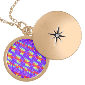 Colorful Bright Purple Wave Twists Artwork Personalized Necklace