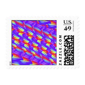 Colorful Bright Purple Wave Twists Artwork Postage Stamp