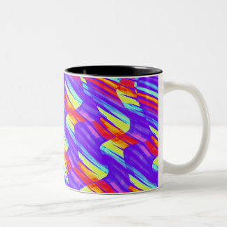 Colorful Bright Purple Wave Twists Artwork Two-Tone Coffee Mug