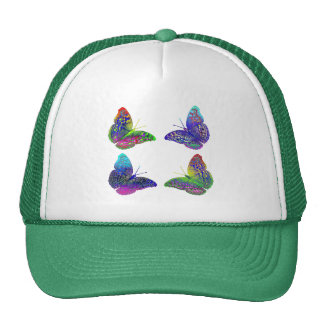 Colorful Bright Rainbow Colors Butterflies Drawing Trucker Hat
