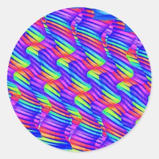 Colorful Bright Rainbow Wave Twists Artwork Classic Round Sticker