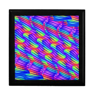 Colorful Bright Rainbow Wave Twists Artwork Keepsake Boxes