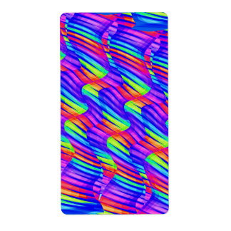 Colorful Bright Rainbow Wave Twists Artwork Label