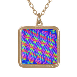 Colorful Bright Rainbow Wave Twists Artwork Necklaces