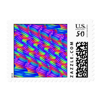 Colorful Bright Rainbow Wave Twists Artwork Postage