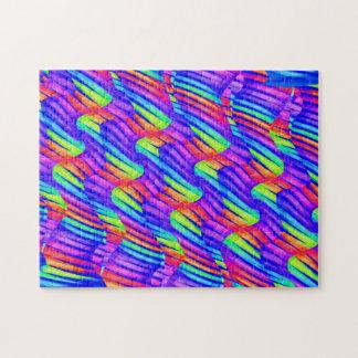 Colorful Bright Rainbow Wave Twists Artwork Jigsaw Puzzles