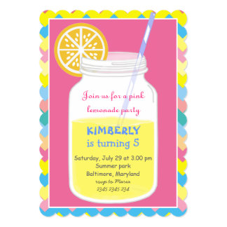 Colorful Bright Summer Lemonade Birthday Party 5x7 Paper Invitation Card