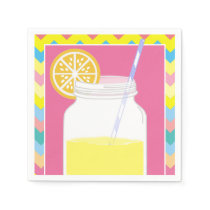 Colorful Bright Summer Lemonade | Chevron Birthday Napkin