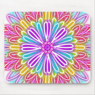 Colorful Bright Zinnia Kaleidoscope Mouse Pad