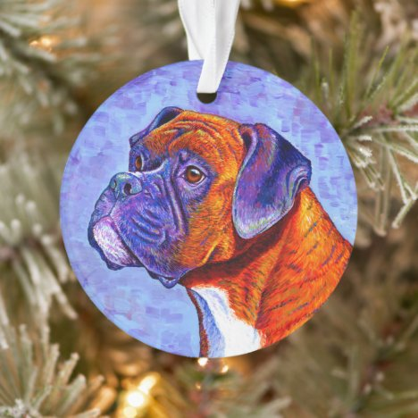 Colorful Brindle Boxer Dog Acrylic Ornament