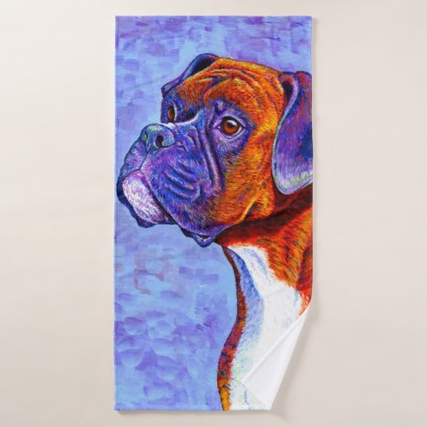 Colorful Brindle Boxer Dog Bath Towel Set
