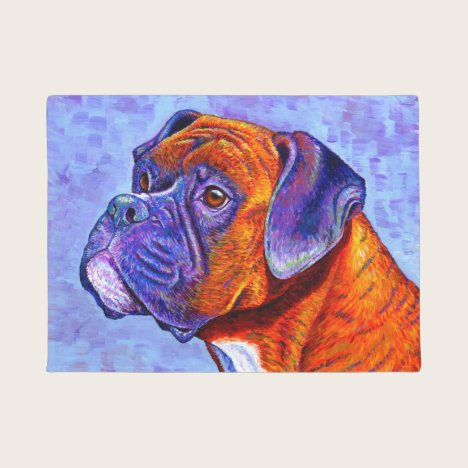 Colorful Brindle Boxer Dog Door Mat