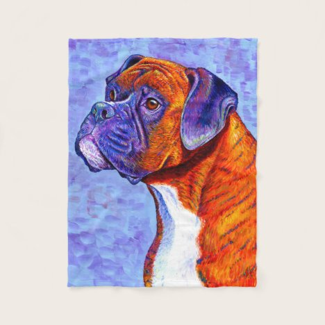 Colorful Brindle Boxer Dog Fleece Blanket