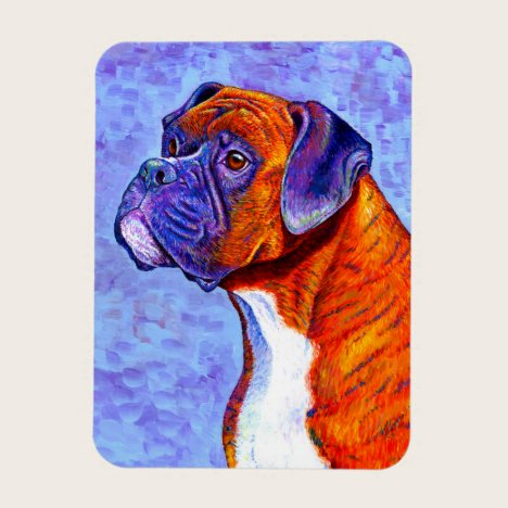 Colorful Brindle Boxer Dog Flexible Magnet