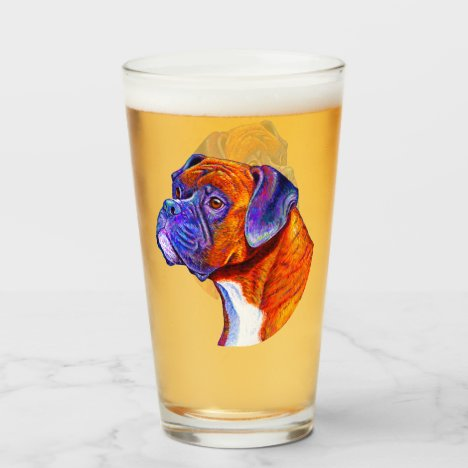 Colorful Brindle Boxer Dog Glass Cup