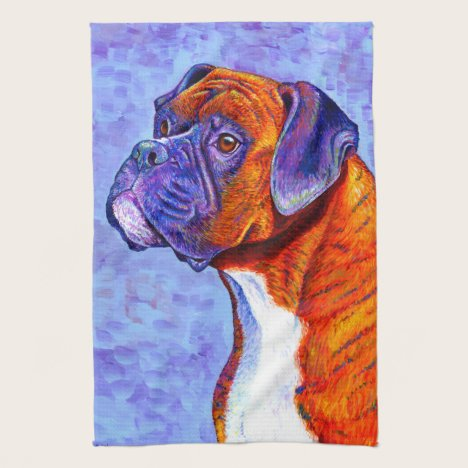 Colorful Brindle Boxer Dog Kitchen Towels