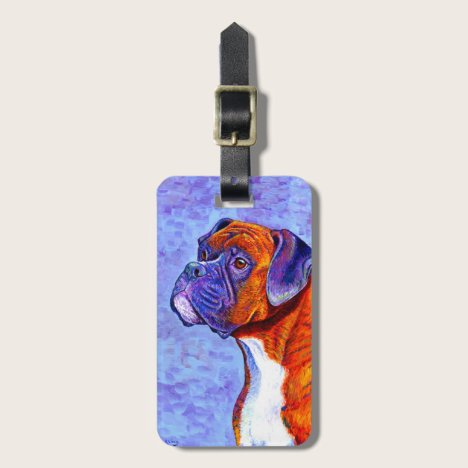 Colorful Brindle Boxer Dog Luggage Tag