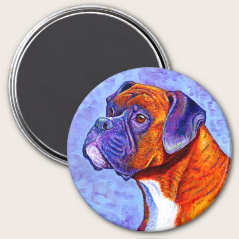 Colorful Brindle Boxer Dog Magnet
