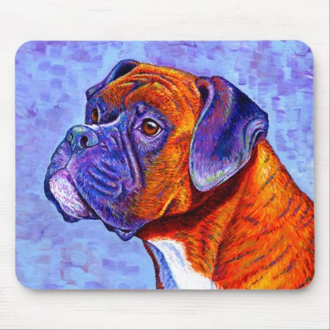 Colorful Brindle Boxer Dog Mouse pad