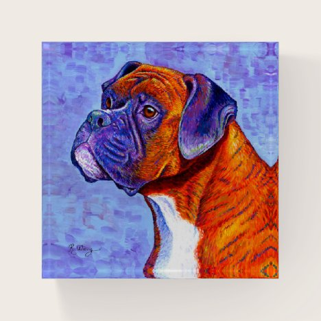Colorful Brindle Boxer Dog Paperweight