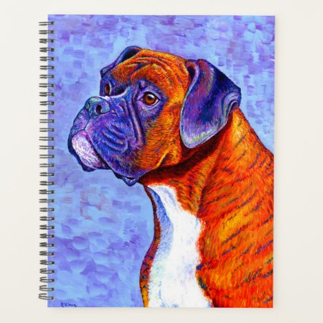 Colorful Brindle Boxer Dog Planner