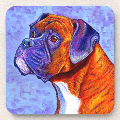 Colorful Brindle Boxer Dog Plastic Coasters