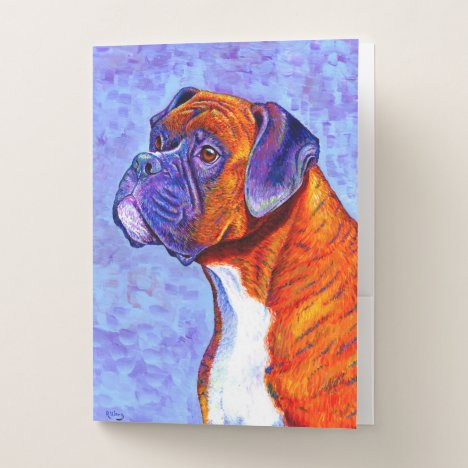 Colorful Brindle Boxer Dog Pocket Folders