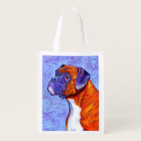 Colorful Brindle Boxer Dog Reusable Grocery Bag