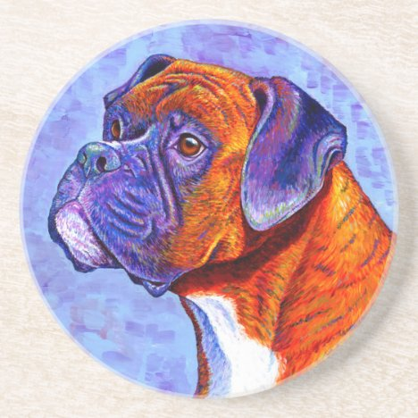 Colorful Brindle Boxer Dog Round Stone Coaster