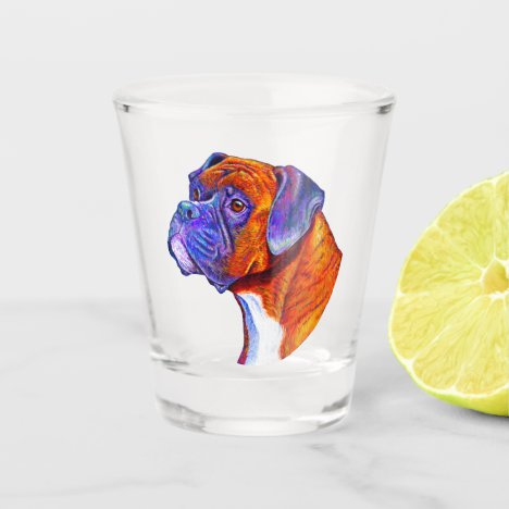 Colorful Brindle Boxer Dog Shot Glass