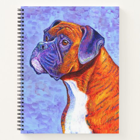 Colorful Brindle Boxer Dog Spiral Notebook