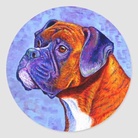 Colorful Brindle Boxer Dog Stickers