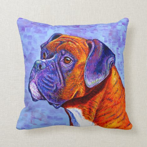 Colorful Brindle Boxer Dog Throw Pillow