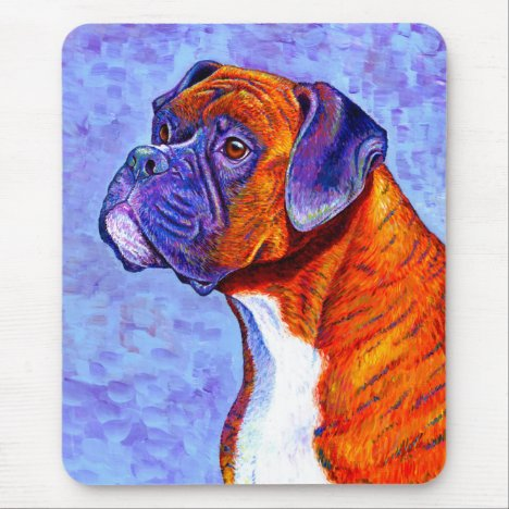 Colorful Brindle Boxer Dog Vertical Mouse pad