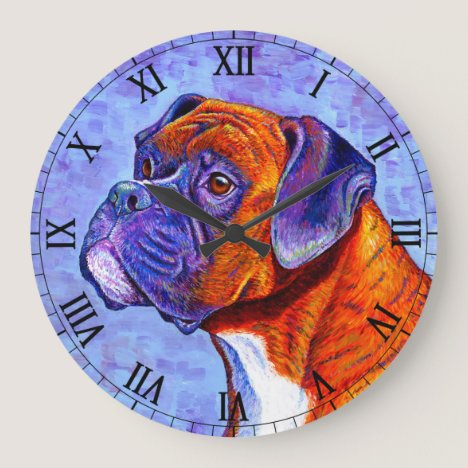 Colorful Brindle Boxer Dog Wall Clock