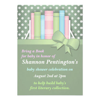Colorful Bring a Book Baby Shower Invitations