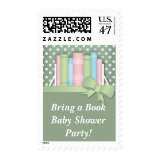 Colorful Bring a Book Baby Shower Postage Stamps